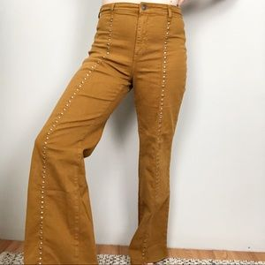 Free People Saxon Flared Studded Jeans high waist